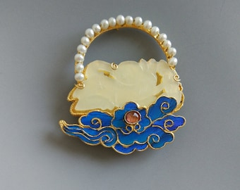 Chinese Art jewelry,Sterling silver Gold plating Kingfisher Feather Brooch,white nephrite carving rabbit