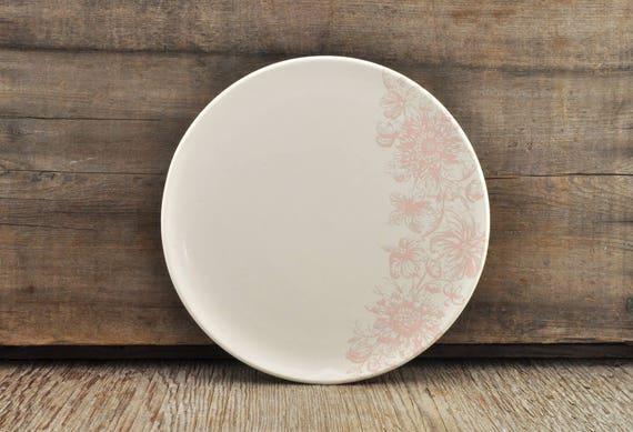 Porcelain plate with vintage pink flower illustration