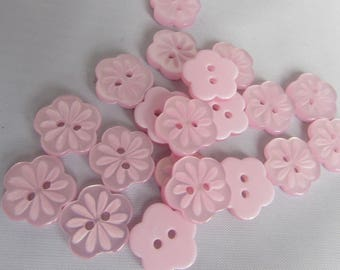 14mm Baby Pink Flower Buttons