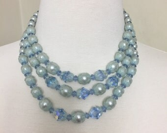 Vintage 1950s Three Strands of Blue Pearl Beads Choker Necklace