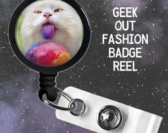 Rainbow Snow Cone Cat Badge Reel