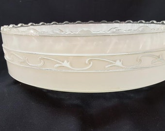 Vintage Large Round  heavy  Glass  center post light  cover ,   12 inches  Cream and Clear