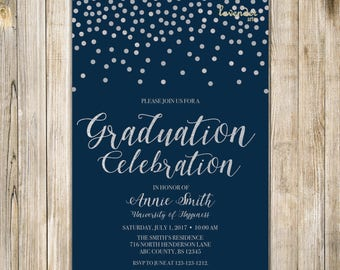 NAVY SILVER GRADUATION Party Invitation, High School Grad Invites, College University Graduation Invite, Class of 2018 Grad Party