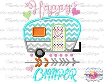 Happy Camper Embroidery Applique Design, dst, exp, hus, jef, pes, sew, vip, vp3, Digital INSTANT DOWNLOAD