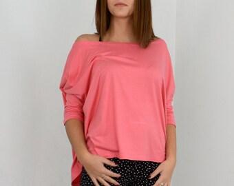 Loose pink blouse/ oversize blouse/ long off-shoulder.