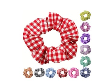 Gingham Scrunchies (Free Shipping) Ponytail Holder Hair Accessories Made in USA