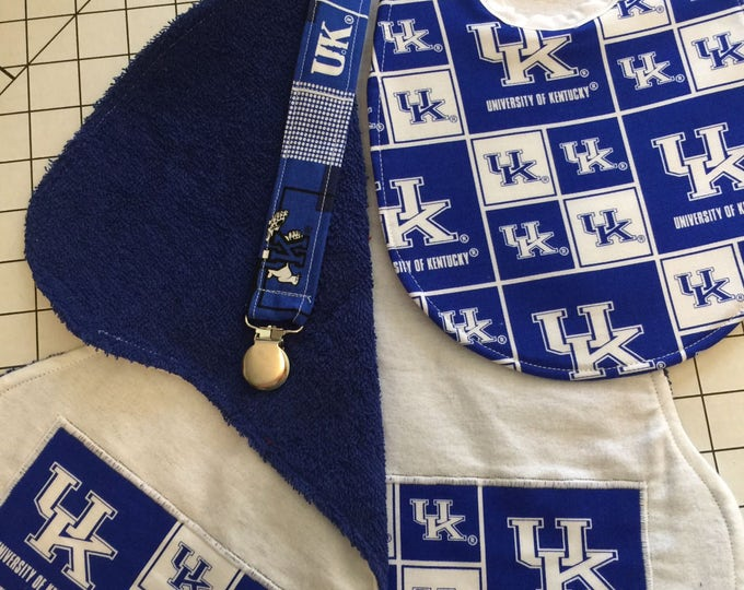 Baby Bib, Burp Cloths & Pacifier Clip Gift Set, University of Kentucky Wildcats Inspired Fabric