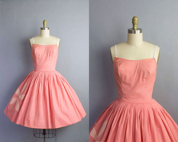 1950s Coral Cotton Sundress/ Small (32b/25w)