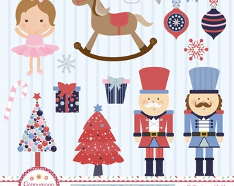 Nutcracker, toy soldiers, ballerina, printable digital clipart set, Commercial and personal use