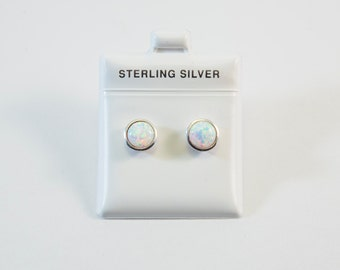 White Lab Created Opal Stud Earrings