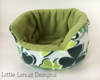"Cozy Cuddle Cup Bed - Shamrocks / Olive Green - Fleece - 8"" for Hedgehog / Guinea Pig / Small Animal / Pet"