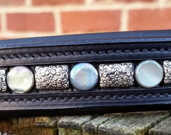 "Full Moon: Mother of pearl and floral silver spacers, 16""/full black browband for dressage or hunter horses"