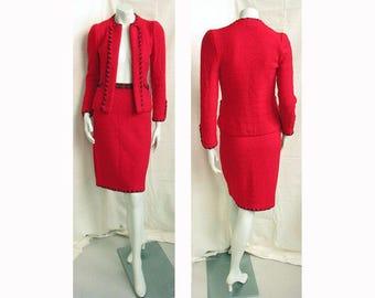 Vintage 1980s ADOLFO Suit Red Wool Jacket & Skirt with Black Silk Rope Trim