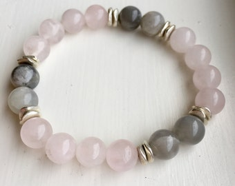 Pink, Silver  and Gray Moonstone Beaded Bracelet, Healing Crystals, Yoga Bracelets, Positive Energy, Gifts for Her