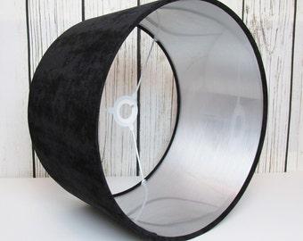 Black Silver Velvet Lampshade