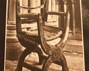 Vintage postcard: Queen Mary's Chair in Winchester Cathedral! Beautiful item for any home!