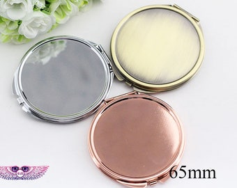 Mirror Compact DIY Kits - Dia.65mm Compact Mirror Blank - Bronze Pocket Blank Compact - Round Gold Blank Compact Tray