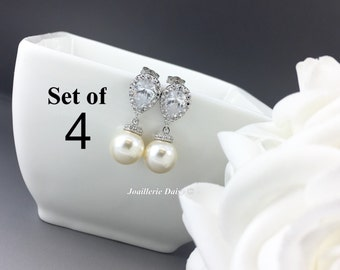 Set of 4 Swarovski Earrings Dangle Earrings Pearl Bridal Earrings Wedding Jewelry CZ Earrings Bridesmaid Gift for Her Ivory Earrings