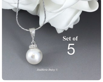 Set of 5 Swarovski Necklace Bridesmaid Gifts Bridesmaid Jewelry Gift for Her Necklace Jewelry Wedding Jewelry Gift for Her Bridesmaid Gift