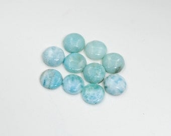 LARIMAR 10mm  Round Flat Back Cabochon 100% Natural, (Lot Of 10 Stones) Under Wholesale