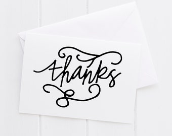 Thanks Appreciation Gratitude Hand lettered black & white notecard,color thank you print, typography thanks card,baby shower, note card