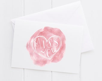 Miss You Hand lettered Note Card, print, typography gift, holiday present, bedroom home decor quote, card, mom sister friend dad brother