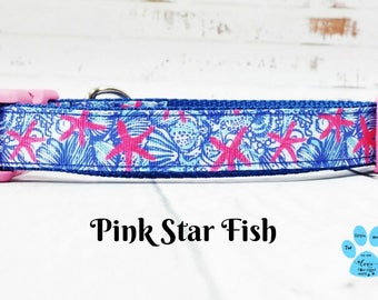 Lilly Pulitzer Inspired Dog Collar, Pink Star Fish Dog Collar, She She Shells Dog Collar, Sea Shells Dog Collar, Beach Dog Collar