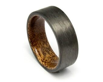 Carbon Fiber ring with  Mahogany wood liner