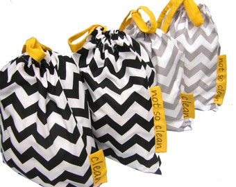 Travel Laundry Bags  Set Two lingerie bags 100% cotton ZigZag fabric Two color options Travel Kit Wash Bags Drawstring bag