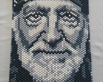 Willie Nelson Beaded Tapestry
