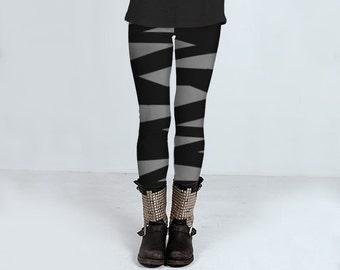 Gray leggings with ballerina stripes in black, handmade leggings, yoga pants, tights