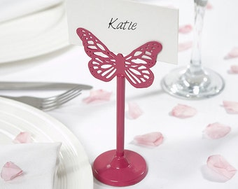 Butterfly Design Wedding Table Metal Place Card Holder- Fuchsia or White