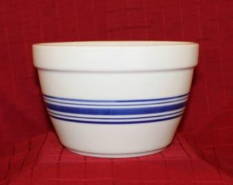 White Bowl with Blue Stripes