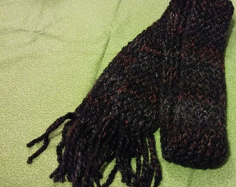 100% Wool Winter Scarf variegated in Shades of Grey, Black and Deep Reds