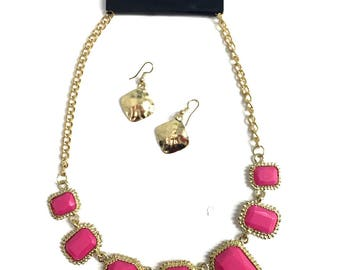 Pink Stone Necklace And Earring Set