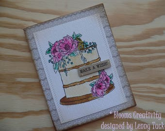 Birthday card- make a wish- handmade card- watercolors- Shabby chic- Floral