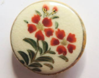 Old Satsuma Button With Oleander Flower