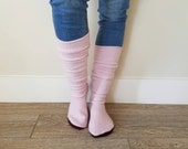"Pink Cashmere Sweater Socks // Size 5-8, 17"" Tall // Cabin Socks // upcycled wool sweater // Washable // Thick felted wool sole"
