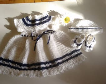 Baby Girl sailor dress, Mary Jane booties and sailor hat,lovely gift for party, photos etc