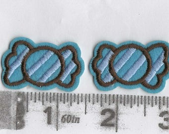 Pair of wrapped candy iron on patches