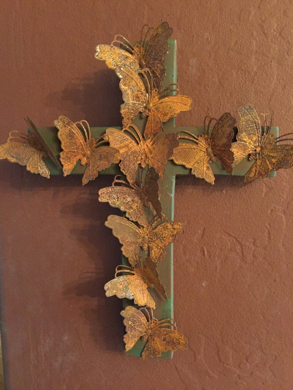 Handmade Rustic Wall Decor : Handmade rustic folk art cross decor and wall hanging
