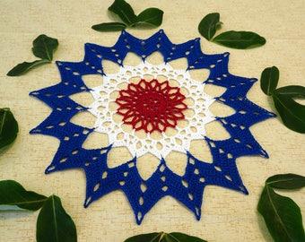 Patriotic Star Doily - Crochet Star Doily - Red White Blue Doily - Patriotic Decor - Memorial Day Decor - USA Crochet Doily - Crochet Doily