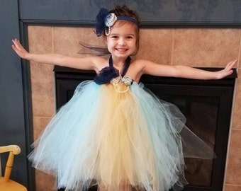 CLEARANCE Blue and yellow tutu dress blue pagent dress handmade flowers  vintage inspired tutu dress blue tutu Yellow tulle pageant dress