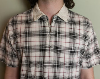 M White Tartan Bossini Zip Up Short Sleeve Shirt