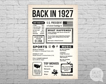Back In 1927 Newspaper-Style DIGITAL Poster, 90th Birthday PRINTABLE Sign, 90th Birthday Poster, 90th Birthday Gift, 1927 Sign, 1927 Poster