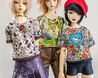 Colorful T-Shirt for 60cm BJD girls (or boys) OOAK