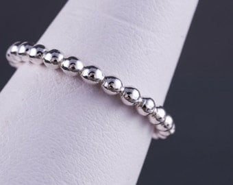 Sterling Silver 2.3mm Full Bead Stacking Ring