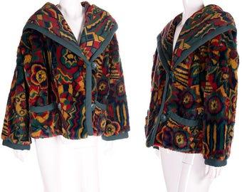 Vintage Missoni 70s Tapestry Boho Fuzzy Hooded Coat