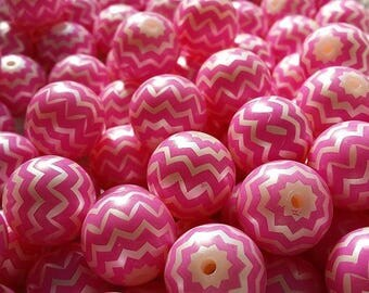 50 pcs Dark Pink Chevron Zig Zag 20 mm Chunky Bubblegum Beads