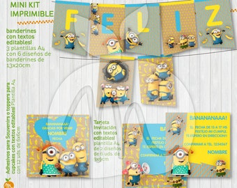 Printable and editable texts kit with MINIONS! Happy birthday party! INSTANT DOWNLOAD! Craft, vintage, yellow and blue design